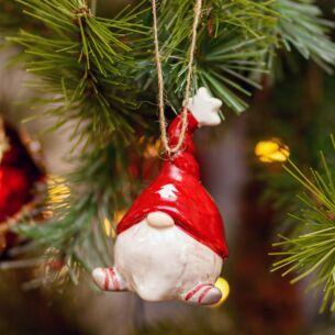 Ceramic Gonk Santa Christmas Tree Decoration