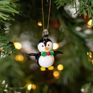 Glass Penguin Christmas Tree Decoration