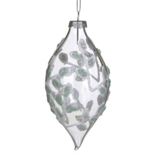 Frosted Leaves Clear Glass Teardrop Bauble
