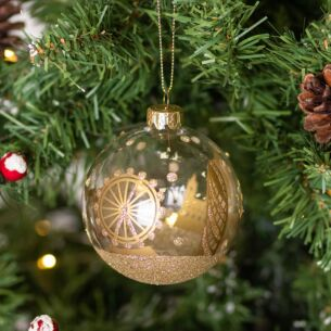 Clear with Gold London Scene Glass Bauble
