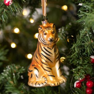 Assorted Painted Glass Big Cat Tree Decoration