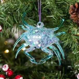 Blue Glass Crab Tree Decoration