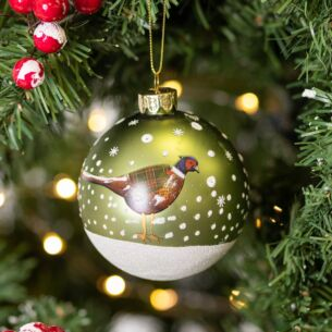 Matte Green Glass Bauble with Partridge