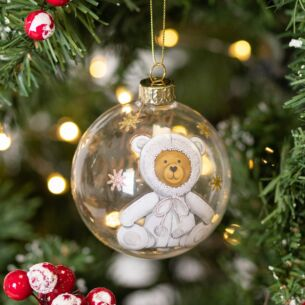 White 'Baby's First Christmas' Teddy Glass Bauble