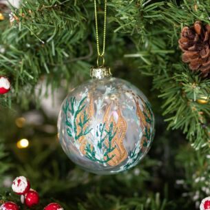 Clear Ball with Green & Gold Seaweed Glass Bauble