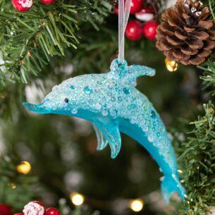 Blue Glass Dolphin Tree Decoration