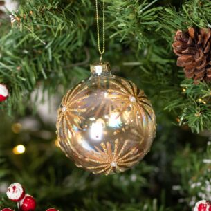 Soap Bubble with Gold Starbursts Glass Bauble