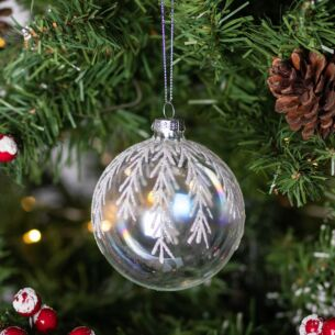 Soap Bubble with Silver Glitter Twigs Glass Bauble