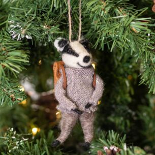 Badger with Coat Woollen Tree Decoration