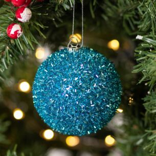 Blue Tinsel Bauble