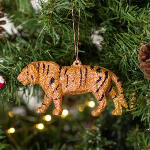 Assorted Gold Glitter Acrylic Big Cat Tree Decoration