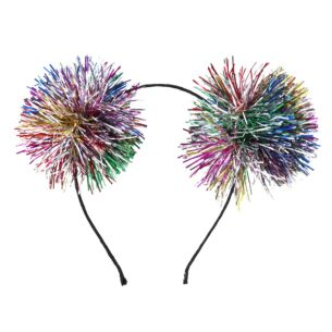 Rainbow Tinsel Pom Pom Hairband