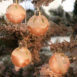 Glass Christmas Pudding Bauble LED Lights