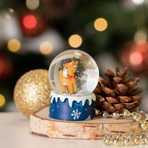Brown Reindeer Mini Snow Dome Decoration