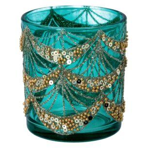 Turquoise Glass & Gold Glitter Tealight Holder