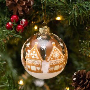 Gingerbread Houses Clear Glass Bauble