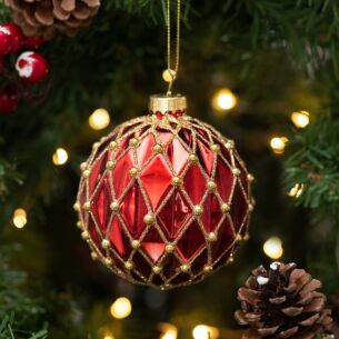 Red With Gold Beads Harlequin Glass Bauble