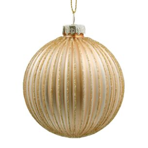 Pale Gold Ribbed Glass Bauble