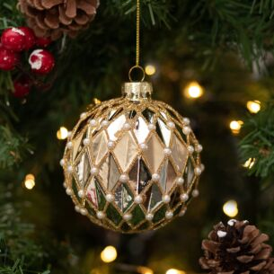 Gold With Pearl Beads Harlequin Glass Bauble