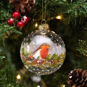 Robin On Wreath Clear Glass Bauble