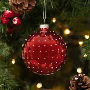 Red With White Dots Glass Bauble