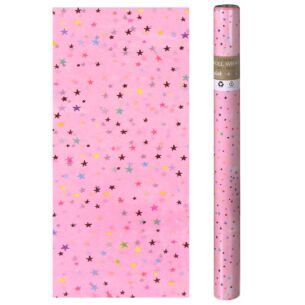 Paper Salad Stars Pink Luxury Roll Wrap 4m x 50cm
