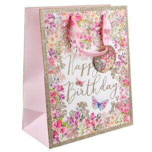 Pizazz Happy Birthday Floral Medium Gift Bag