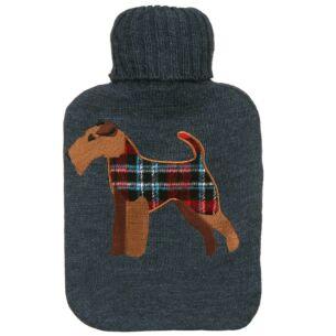 Knitted Tartan Terrier Grey Hot Water Bottle