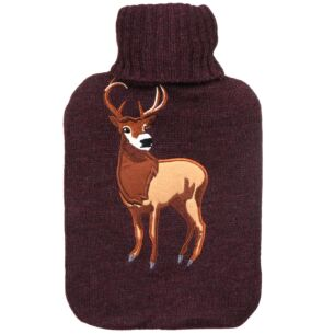 Knitted Stag Burgundy Hot Water Bottle