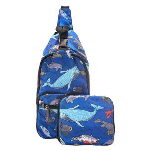 Blue Sea Creatures Foldaway Crossbody Bag
