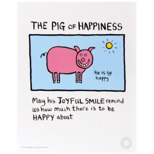 Edward Monkton The Pig Of Happiness Limited Edition Fine Art Print