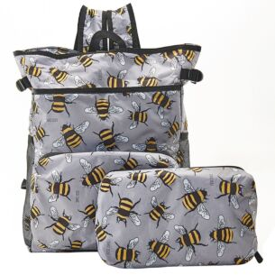 Grey Bumblebees Recycled Foldaway Cooler Backpack