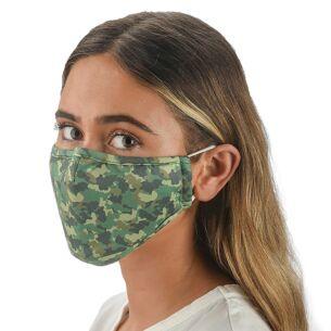 Face Cover with Flexible Nose Bridge – Green Camo