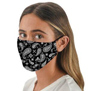 Face Cover with Flexible Nose Bridge – Black Bandana