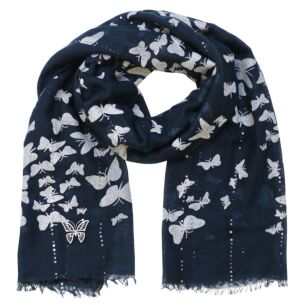 Butterfly Navy Scarf & Brooch Set