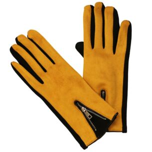 Modern Zipped Mustard & Black Boxed Gloves