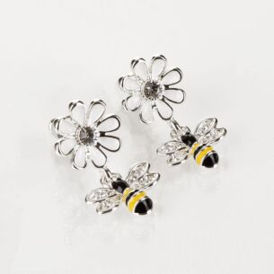 Silver Plated Bee and White Flower Earrings