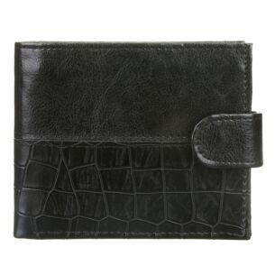 Equilibrium Men's Black Croc Print Wallet