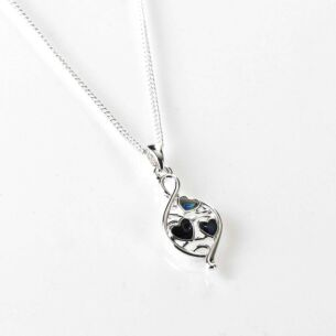 Equilibrium Mother of Pearl Modern Teardrop Silver Plated Necklace