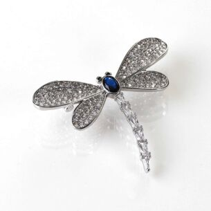 Glitzy Dragonfly White Gold Plated Brooch