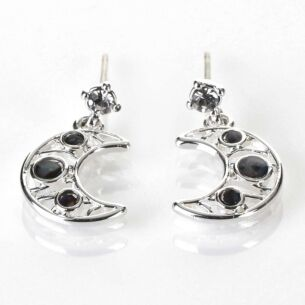 Equilibrium Mother of Pearl Moon Silver Plated Earrings