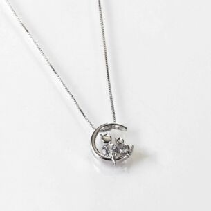 Cats on Moon White Gold Plated Necklace