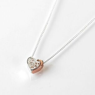 Equilibrium Two Piece Heart Silver and Rose Gold Plated Necklace