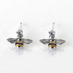 Equilibrium Handpainted Dangly Bee Platinum Plated Earrings