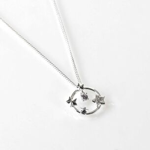 Celestial Sparkle Stars Silver Plated Necklace