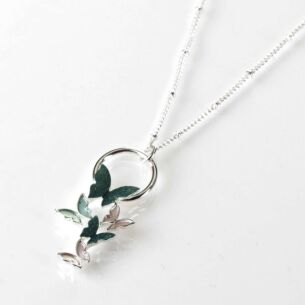 Equilibrium Sage Tones Butterfly Cluster Silver Plated Necklace