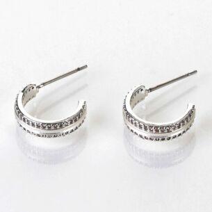 Matte Silver Plated Hoop Earrings
