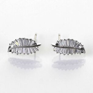 Equilibrium Baguette Crystal Leaves Platinum Plated Earrings