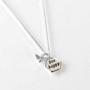 Equilibrium Say it With Words Silver Plated Bee Necklace