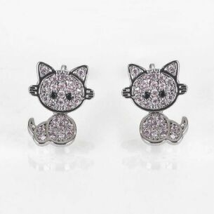 Equilibrium Girls Pink Moving Kitten Silver Plated Earrings